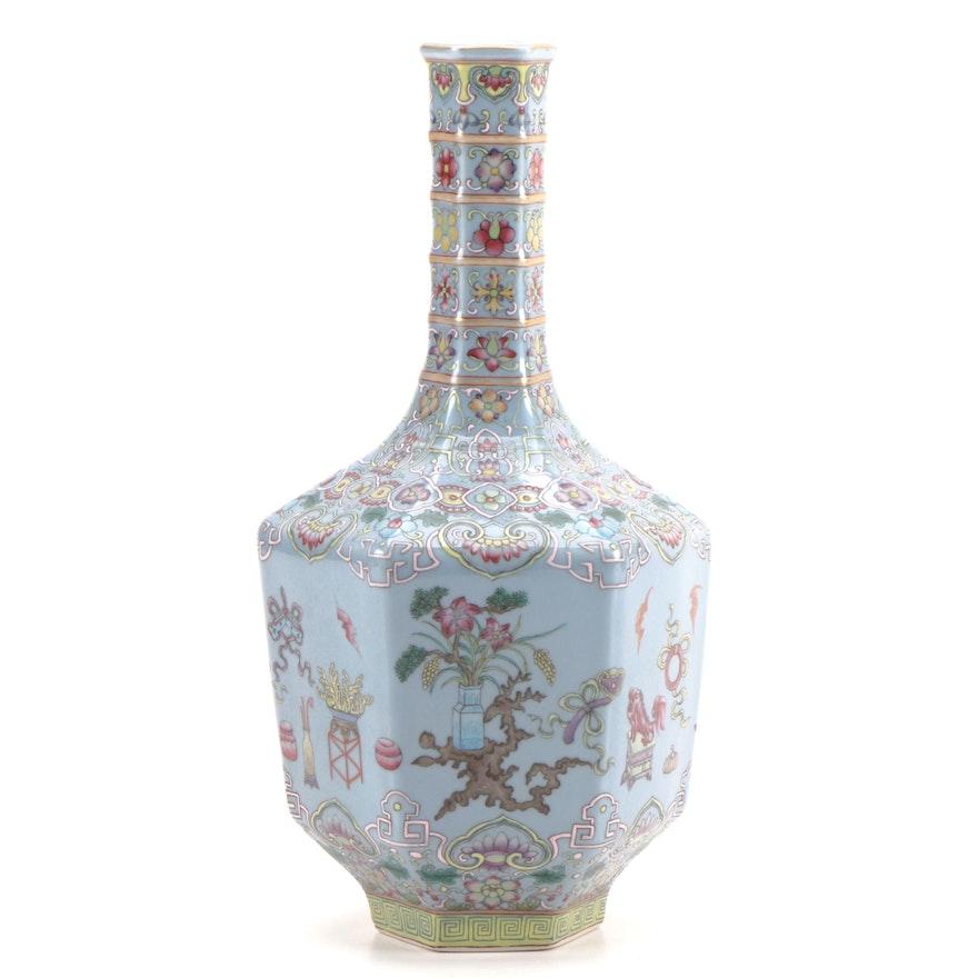 Chinese Finely Enameled Porcelain Octagonal Bottle Vase, Republic Period