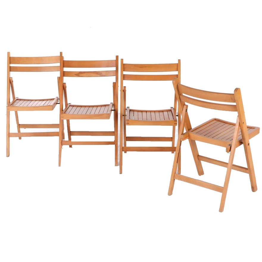 Birch Folding Side Chairs, Late 20th Century