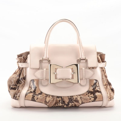 Gucci Queen Large Satchel in Python Skin with Pale Pink Smooth Leather Trim