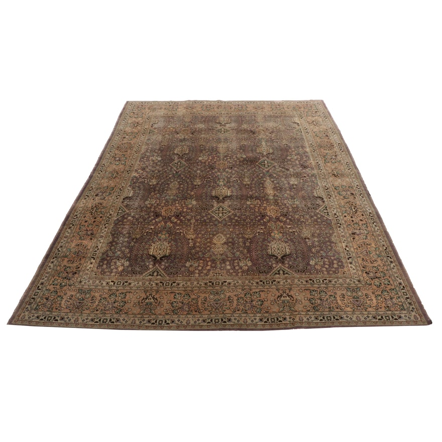 9'9 x 12'8 Hand-Knotted Persian Tabriz Room-Size Rug, Early to Mid-20th Century