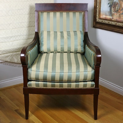 Kravet Furniture Upholstered Mahogany Club Chair with Nailhead Trim