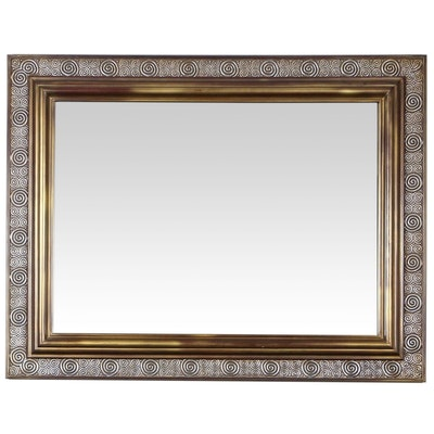 Metal Rectangular Wall Mirror with Swirled Motif
