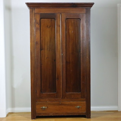 American Victorian Walnut-Finished Poplar Wardrobe, Mid to Late 19th Century