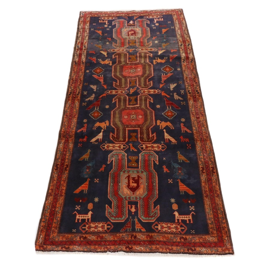 4'4 x 9'11 Hand-Knotted Northwest Persian Pictorial Wide Rug Runner, 1950s