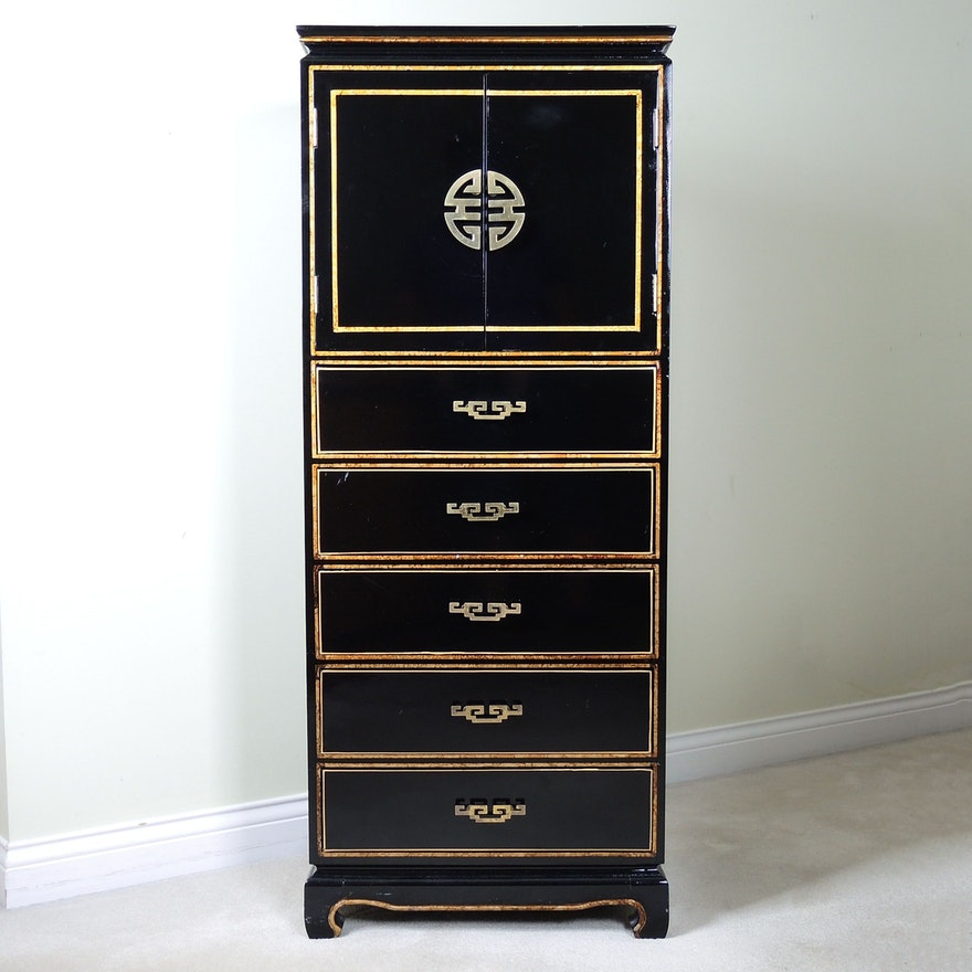 Chinese Style Lacquered Wood Chest of Drawers