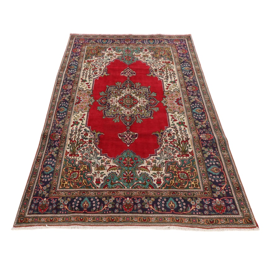 6'5 x 10'3 Hand-Knotted Persian Tabriz Rug, 1970s