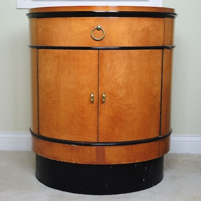National Mt. Airy Biedermeier Style Maple Drum Table, Late 20th Century