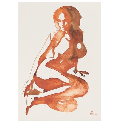 Alyona Glushchenko Watercolor Painting of Female Figure, 2020