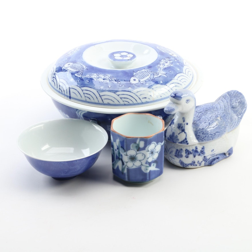 Chinese and Japanese Blue and White Porcelain Covered Dish and Other Decor