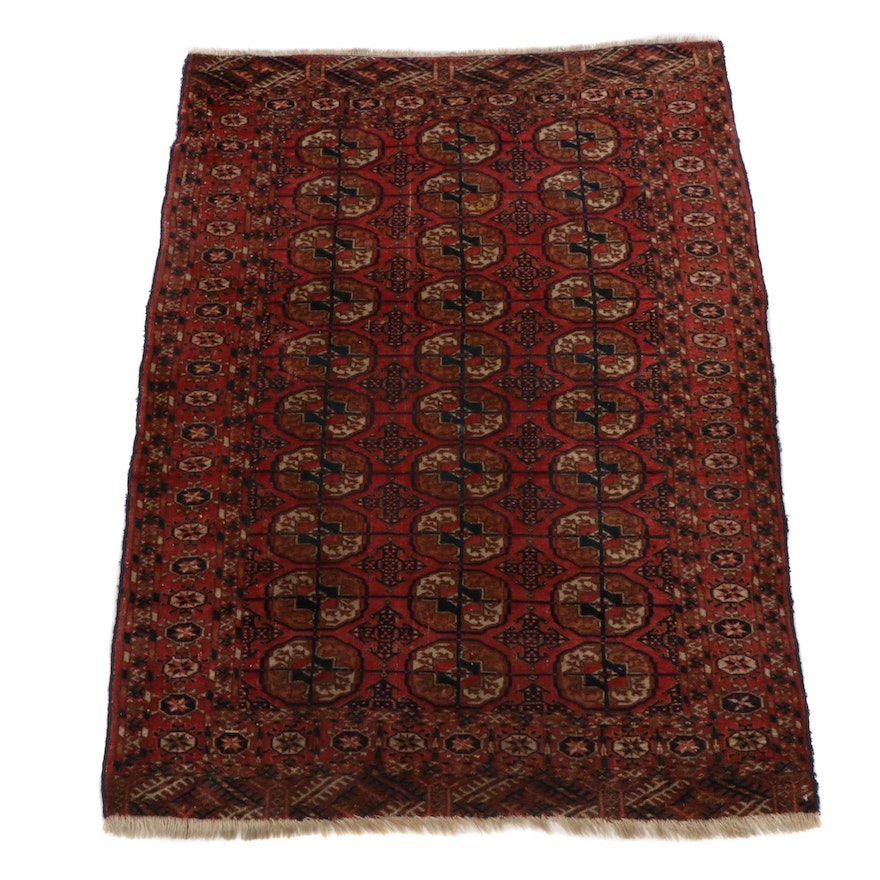 3'8 x 5'2 Hand-Knotted Persian Turkoman Rug, 1910s
