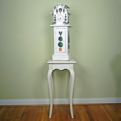 "Hand Painted ""Bird House"" Clock with Wooden Accent Table"