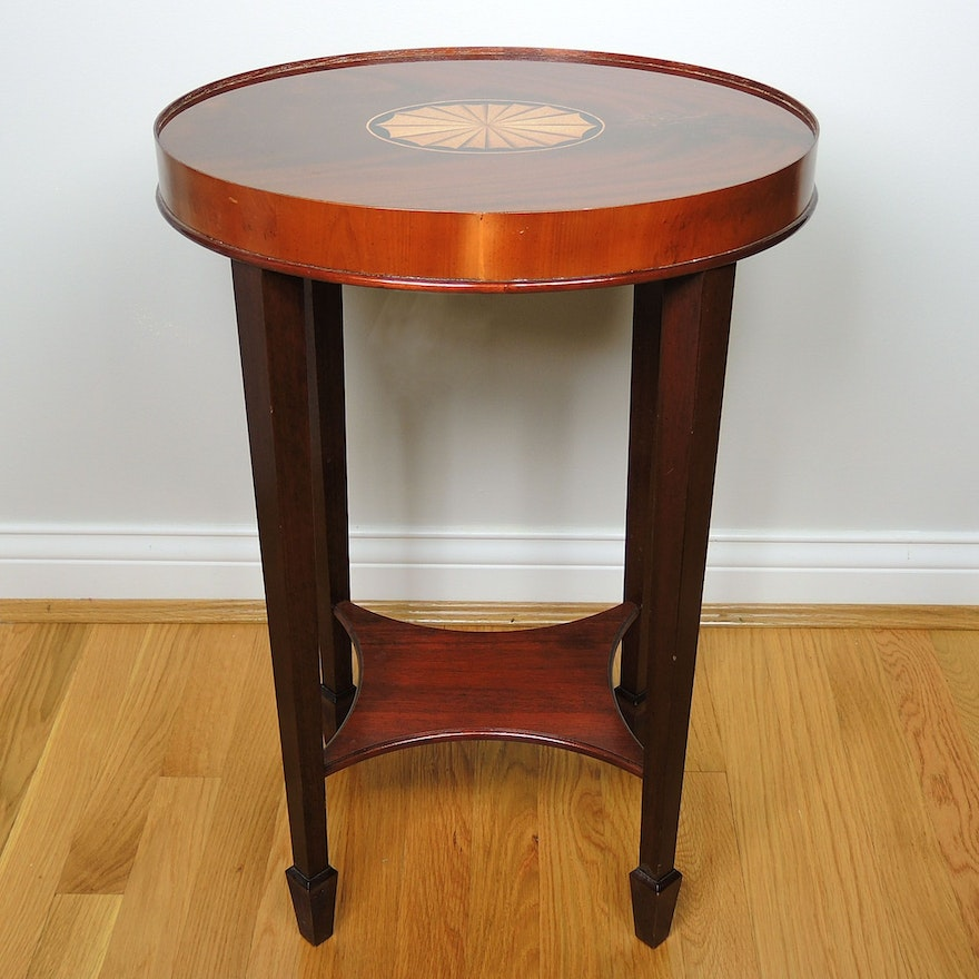 George III Style Mahogany and Marquetry Tiered Side Table, Late 20th Century