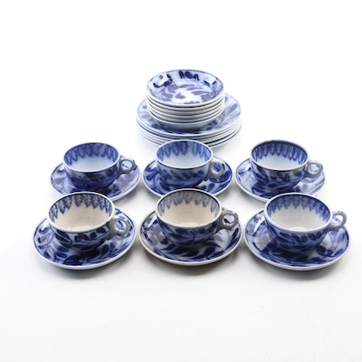 Flow Blue Earthenware Dinnerware Pieces, Late 19th to Early 20th Century