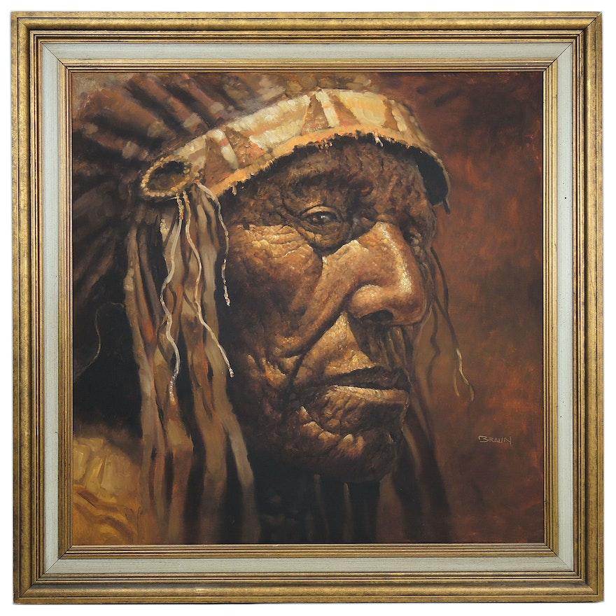 Jorge Braun Tarallo Native American Chief Oil Portrait