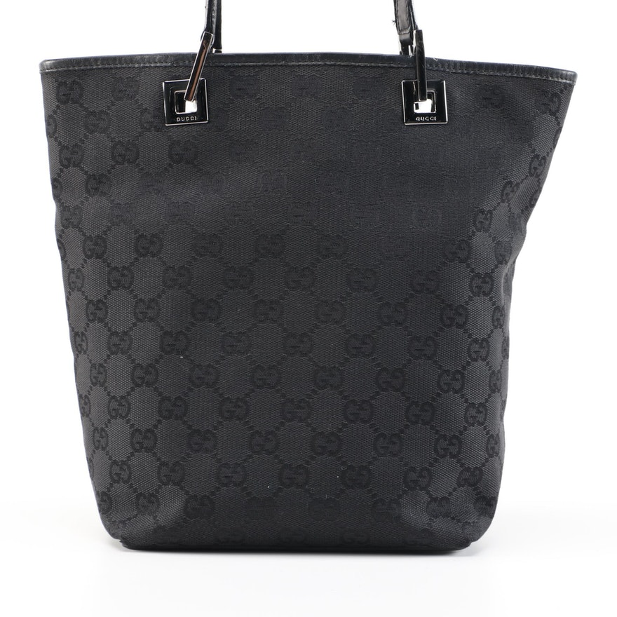 Gucci GG Black Canvas and Leather Bucket Bag