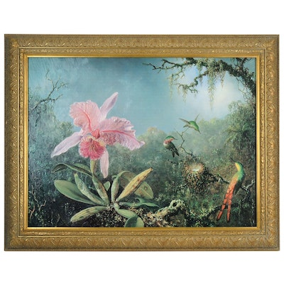 "Offset Lithograph after Martin Heade ""Cattleya Orchid and Hummingbirds"""