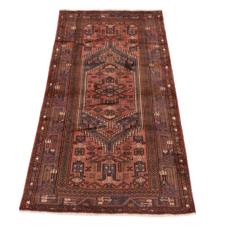3'10 x 7'3 Hand-Knotted Persian Zanjan Rug, 1980s