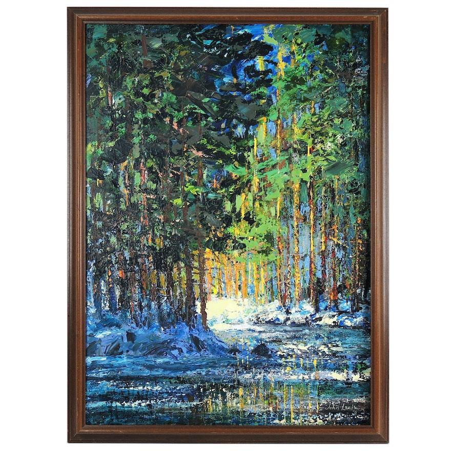 John Lagiz Acrylic Painting of Forest Landscape