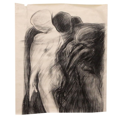 Esther Liu Figural Charcoal Drawing, circa 1980