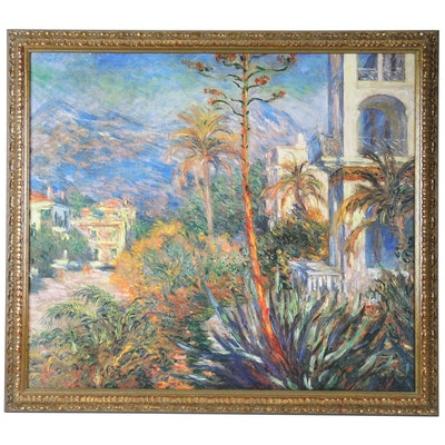 "Embellished Offset Lithograph after Claude Monet ""Villas in Bordighera, Italy"""