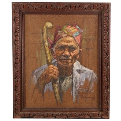 Jose B. David Oil Painting Portrait of a Man, 1972