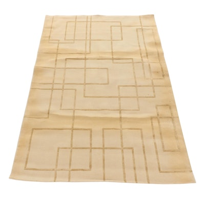 5'2 x 7'9 Hand-Tufted Indian Mid Century Modern Style Rug, 2000s