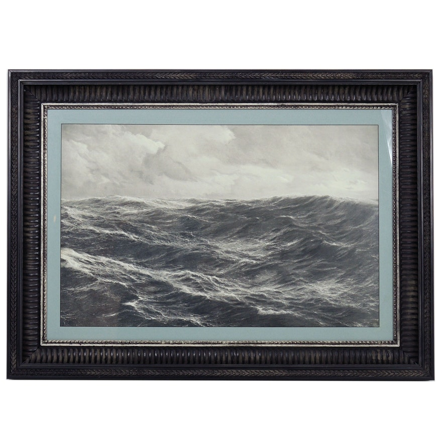 Offset Lithograph of Open Water Seascape, Late 20th Century