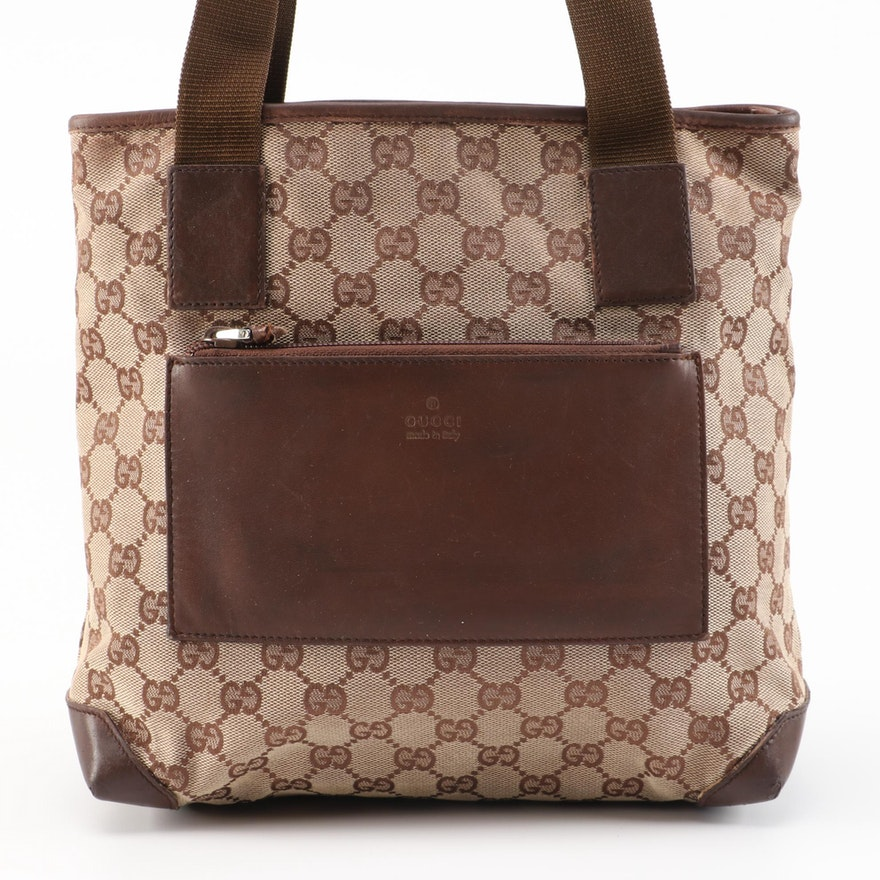 Refurbished Gucci GG Canvas and Brown Leather Shoulder Bag