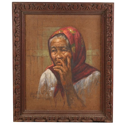 Jose B. David Oil Painting of a Woman, 1972