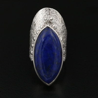 Textured Sterling Silver Lapis Lazuli Pointer Ring
