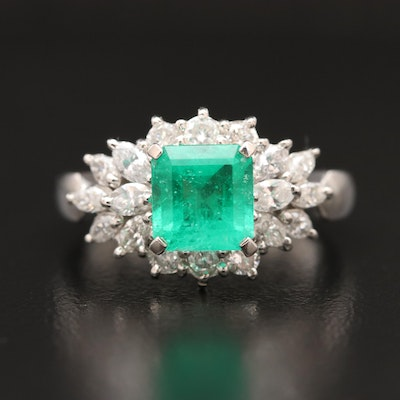 Platinum 1.00 CT Emerald and Diamond Cluster Ring
