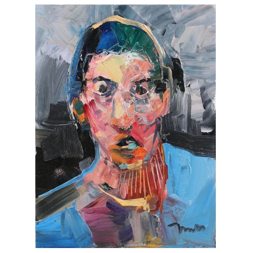 "Jose Trujillo Oil Painting ""The Quiet Stare"", 2020"