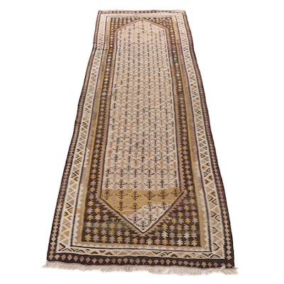 4'3 x 13'7 Handwoven Persian North West Persia Kilim Wide Runner, 1940s