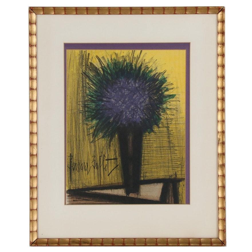 "Bernard Buffet Color Lithograph ""The Purple Bouquet of Flowers"", 1967"
