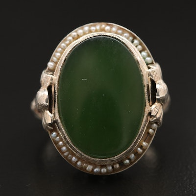 1930s 14K Nephrite and Pearl Ring with Scroll Work Design