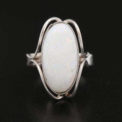 9K Opal Cabochon Ring