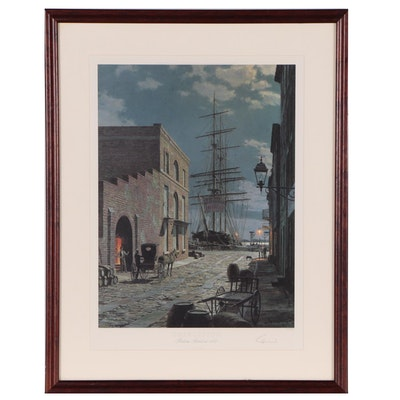 "John Stobart Offset Lithograph ""Charleston, Prioleau Street in 1870"""