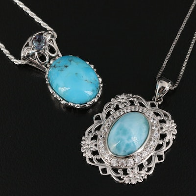 Sterling Larimar, Turquoise and Sapphire Necklaces with Openwork Detailing