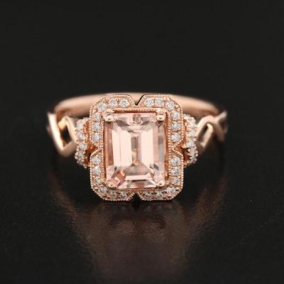 EFFY 14K Rose Gold Morganite and Diamond Ring
