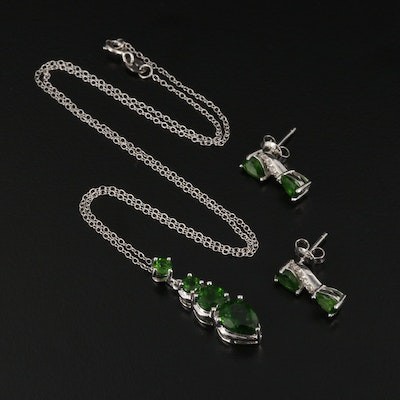 Sterling Siver Chrome Diopside and Topaz Necklace and Earring Set