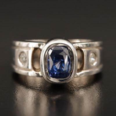 18K Bezel Set 2.80 CT Blue Sapphire and Diamond Ring