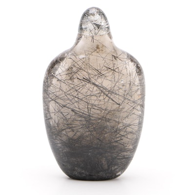 Chinese Carved Tourmalinated Quartz Snuff Bottle