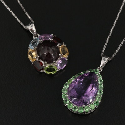Sterling Silver Gemstone Necklaces Including Opal and Amethyst