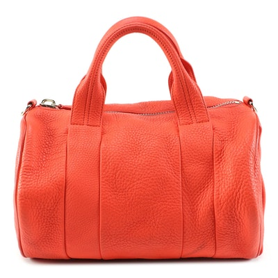 Alexander Wang Rocco Two-Way Satchel in Red Orange Pebble Grained Leather