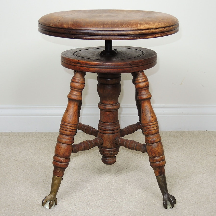 Victorian Adjustable Piano Stool with Claw and Ball Feet, Late 19th Century