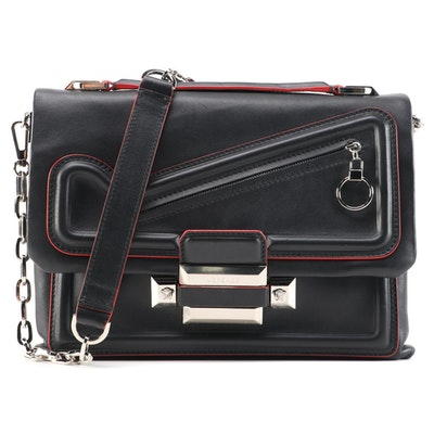 Versace DV One Chain Shoulder Bag in Black Leather with Red Trim