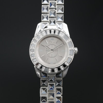 Christian Dior Christal Diamond, Stainless Steel and Sapphire Crystal Wristwatch
