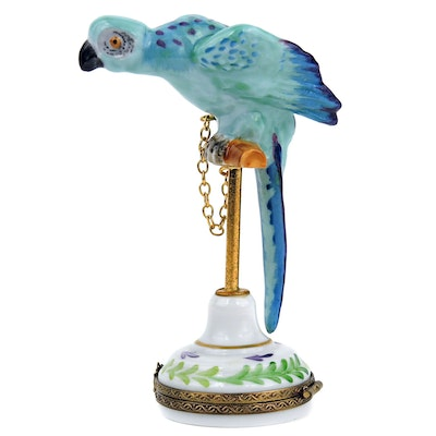 "Hand-painted ""Parrot on Perch"" Porcelain Limoges Box"