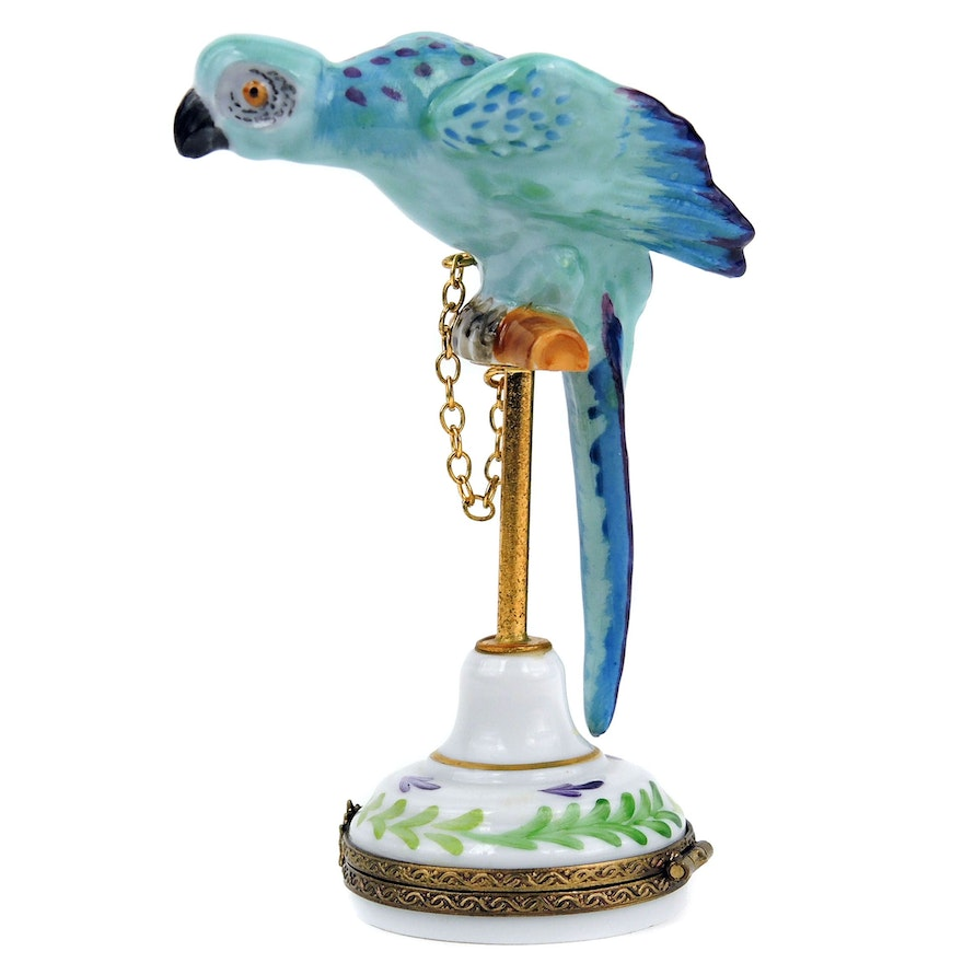 """Hand-painted """"Parrot on Perch"""" Porcelain Limoges Box"""
