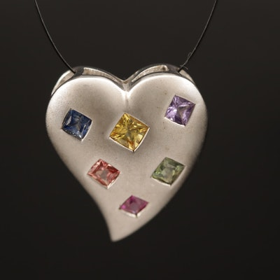 Sterling Silver Multi-Colored Sapphire Heart Slide Pendant